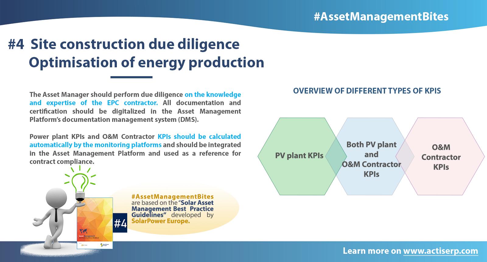 asset management bites site construction due diligence optimisation of energy production